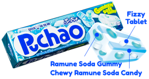 Puchao Stick - Ramune Soda Gummy, Chewy Ramune Soda Candy and Fizzy Tablet
