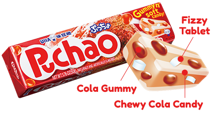 Puchao Stick - Cola Gummy, Chewy Cola Candy and Fizzy Tablet